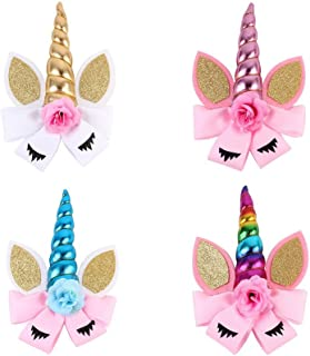 Oaoleer 8 inch Unicorn Cheer Bows for Girls Dogs Kids Grosgrain Ribbon Pig Tail Hair Bow with Alligator Clips (4pcs Unicorn Hair Clip)