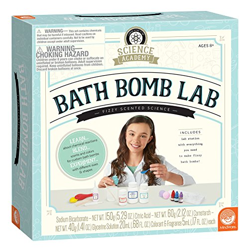 MindWare Science Academy Bath Bomb lab - A 20pc DIY Experiment kit for Boys & Girls - Make 4+ Bath Bomb Experiments - Great Gift for Children & Teenagers
