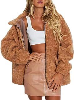 Sunmoot Teddy Bear Coat for Women s Winter Lapel Faux Fur Jacket Long  Sleeve Winter Boyfriend Coats 33e907c603c4