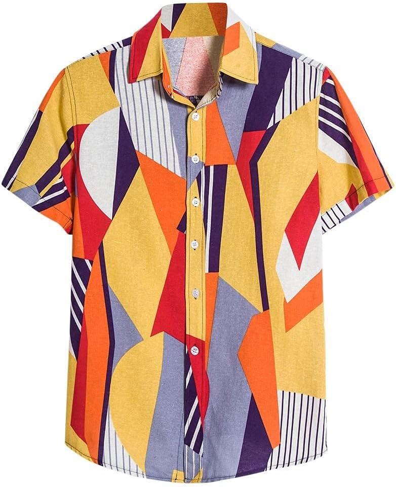 SPNEC Mens Casual Cotton Alternative dealer Linen Shirt Sh Print Kansas City Mall Color Summer Patch