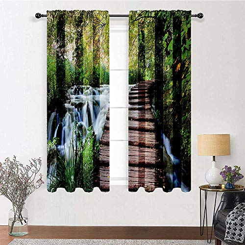Bedroom Curtains 84 inch Length, House Decor Drapes for Living Room 72' x 84' - Wooden Footbridge Along The Stream in Greenery Jungle Waterscape Scenery Image, Polyester