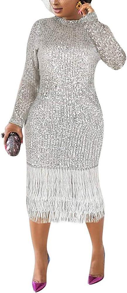 Uni Clau Women Long Sleeve Sequin Plus Max Denver Mall 72% OFF Dress Size - Bodycon Tass