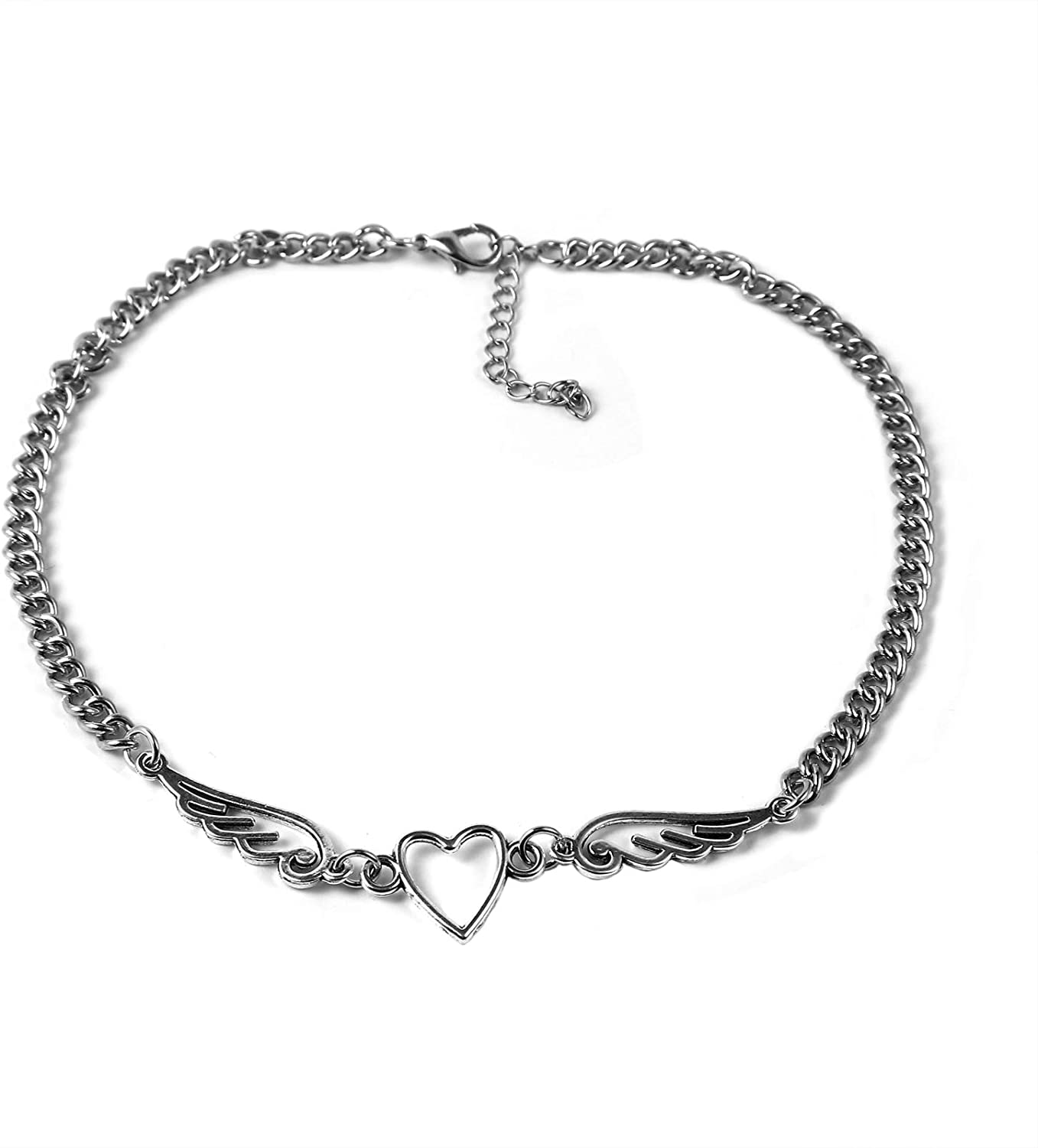 Mountainer Punk Cool Necklace Simple Geometric Metal Heart Angel Wings Choker Statement Clavicle Necklace for Women Girls Party Jewerly Gift