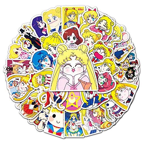 KPSHY Sailor Moon Cartoon Graffiti Stickers Anime DIY Pegatinas Decorativas adecuadas para automóviles, Scooters, Tazas de Agua, computadoras portátiles, Maletas, Cascos, blocs de Notas, Regalos