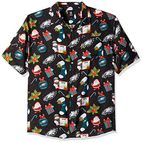 Philadelphia Eagles NFL Mens Christmas Explosion Button Up Shirt - XL