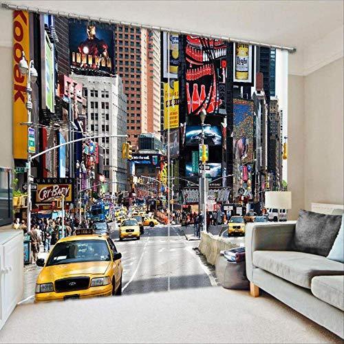 LBHHH Cortinas 3D Cuadradas De New York Times, Cortinas Opacas Impresas para Ropa De Cama, Sala De Estar, Cortina Moderna, Cortinas Opacas Gruesas (Ancho) 300 × (Alto) 270cm