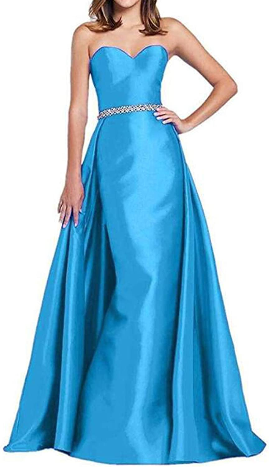 Alilith.Z Sexy Sweetheart Mermaid Prom Dresses 2019 Beaded Belt Satin Evening Dresses Party Gowns for Women with Overskirt