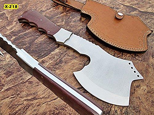 Poshland AX-16 Custom Handmade 12.5 Inches Hi Carbon Steel Axe - Brown Canvas Micarta Handle