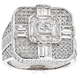 Real Solid 925 Sterling Silver Men's Ring - Large Square Iced Baguette Diamond Ring - Great As A Hip Hop Pinky Ring - Anillo Para Hombre (9)