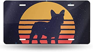 Vintage Retro Sunset French Bulldog License Plate Cover Novelty Tag Aluminum Car Plate Gifts Decorative Car Tag Sign Metal Auto Tag Front License Plate for Home,Bathroom and Bar Wall Decor(12 X 6)