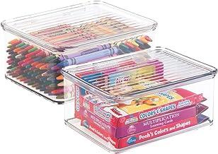 mDesign Juego de 2 cajas de almacenaje con tapa – Organizador de juguetes apilable para la habitación de los niños – Guarda juguetes fabricado en plástico – transparente