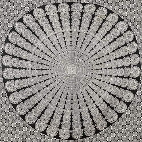 Momomus arazzo da parete grande mandala - telo mare indiano, etnico - 100% cotone - telo arredo copridivano/copritutto, pareo, multiuso (Bianco-Nero, 210x230 cm)
