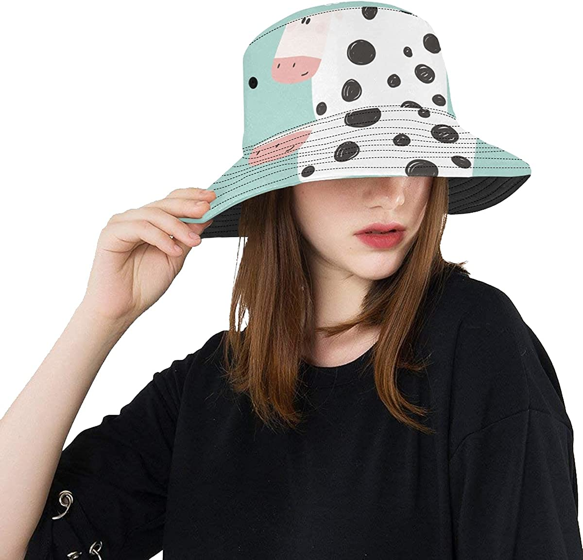 Fish Hats for New products, world's highest quality popular! Men Happy Little Directly managed store Summer Unise Cow Farm Milk Animal
