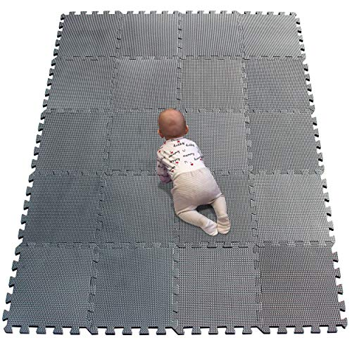 YIMINYUER EVA Exercise Floor Play Mats Soft Floor Mat Puzzle Foam  30 x 30cm Gray R12G301020