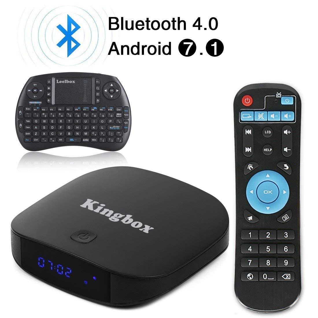 Kingbox – TV Box K1 Plus con Android 7.1 de 2018, 2 GB de RAM + 8 GB de ROM, compatible con H.265 / Penta-Core / BT 4.0 / 3D, etc., incluye mini-teclado inalámbrico: Amazon.es: Electrónica