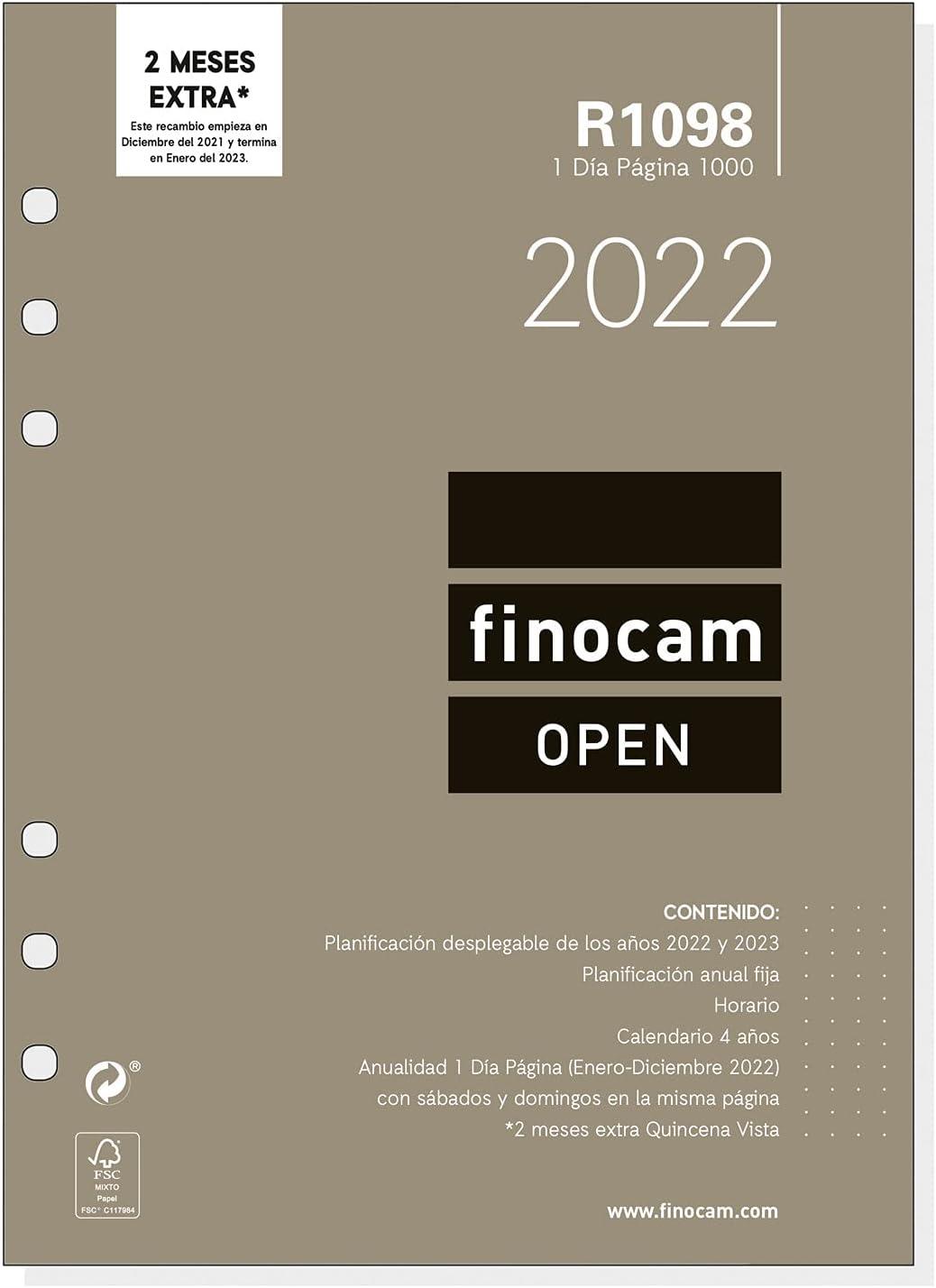 Finocam - Recambio Anual 2022 1 Día Página, de Enero 2022 a Diciembre 2022 (12 meses) 1000 - 155x215 mm Open Español
