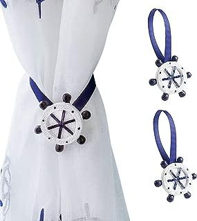 Joyci One Pair Mediterranean Style Curtain Tiebacks Cute Curtain Magnetic Clips Creative Curtain Bind (Dark Blue Rudder)