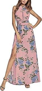655c670f6dd Women s Halter Neck Backless Front Split Bohemia Print Long Maxi Beach Dress