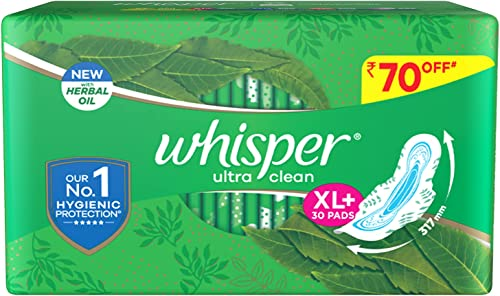 Whisper Ultra Clean Sanitary Pads for Women XL 30 Napkins