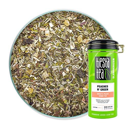 Tiesta Tea - Peaches N´Green, Loose Leaf Smooth Peach Green Tea, Medium caffeine, Hot & Iced Tea, 3 oz Tin - 50 Cups, Green Tea Loose Leaf