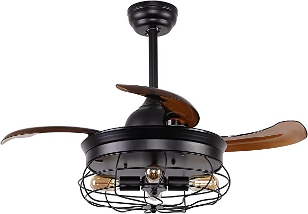 Vintage Ceiling Fan With Lights 36 Inch Retractable Blades Industrial Ceiling Fan With 4 Edison Bulbs Not Included Black