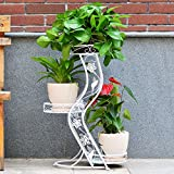 LQQGXL Iron balcony flower rattan living room floor multi-storey indoor and outdoor European-style flower racks Flower stand ( Color : White )