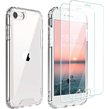 Singdo iPhone SE 2020 Case,iPhone 7/8 Case,with [2 xTempered Glass Screen Protector] Premium Clear Soft TPU + Hard PC Ultra-Clear Anti-Scratch Anti-Yellow Case for iPhone SE 2020/7/8 4.7 inch Clear