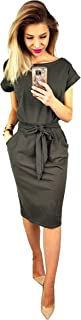 Women's Elegant Long Sleeve Lantern Sleeve Wear to Work Casual Pencil Dress with Belt