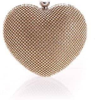 Sturdy Sweet Lady Handbag Elegant Female Handbag Girl Love Diamond Heart Hand Evening Party Handbag Gold. Large Capacity