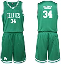 BHHT Jerseys NBA Basketball Clothes Suit Male Celtics Jersey, Thomas No. 4, No. 5 Kevin Garnett, Rondo No. 9, No. 20 Ray Allen, Paul Pierce 34, Green Jerseys Set (Color : Green34, Size : X-Large)