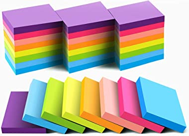 Sticky Notes 1.5x2 Inches, Bright Colors Self-Stick Pads, 24 Pack, 75 Sheets/Pad