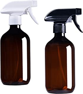 16oz Amber Plastic Bottles with Black and White Trigger Sprayers, Refillable PET Trigger Containers with Mist & Stream for...