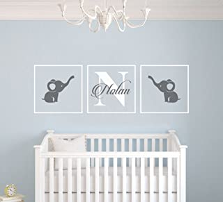 Personalized Name Elephants - Frames Series -Baby Boy/Girl Wall Decal Nursery for Home Bedroom Children (AM) (Wide 42
