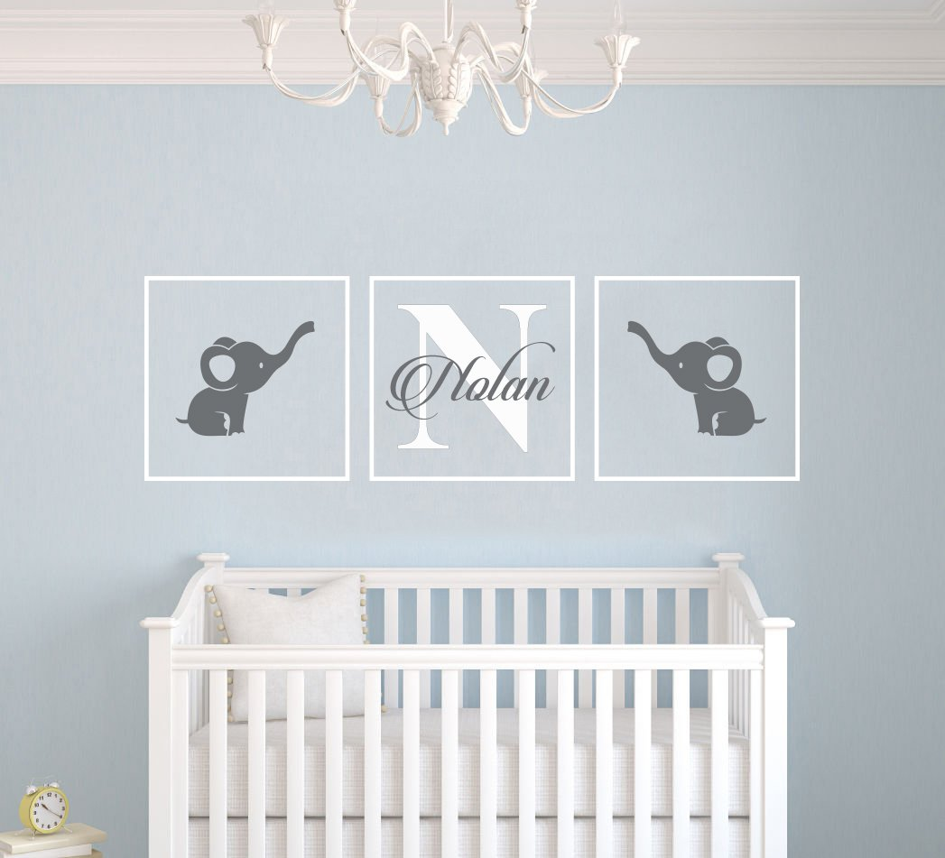 """Amazon.com: Personalized Name Elephants - Frames Series -Baby Boy/Girl Wall Decal Nursery For Home Bedroom Children (AM) (Wide 24"""" X 8"""" Height): Baby"""