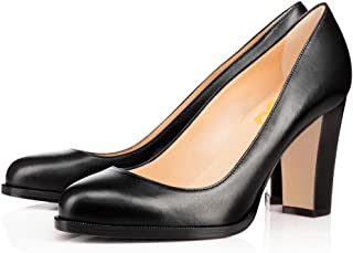 4386a98ff177c FSJ Classic Round Toe High Chunky Heels Pumps Slip on Dress Shoes for Women  Size 4