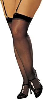 Women's Sheer Retro Inspired Plus Size Thigh High Stockings