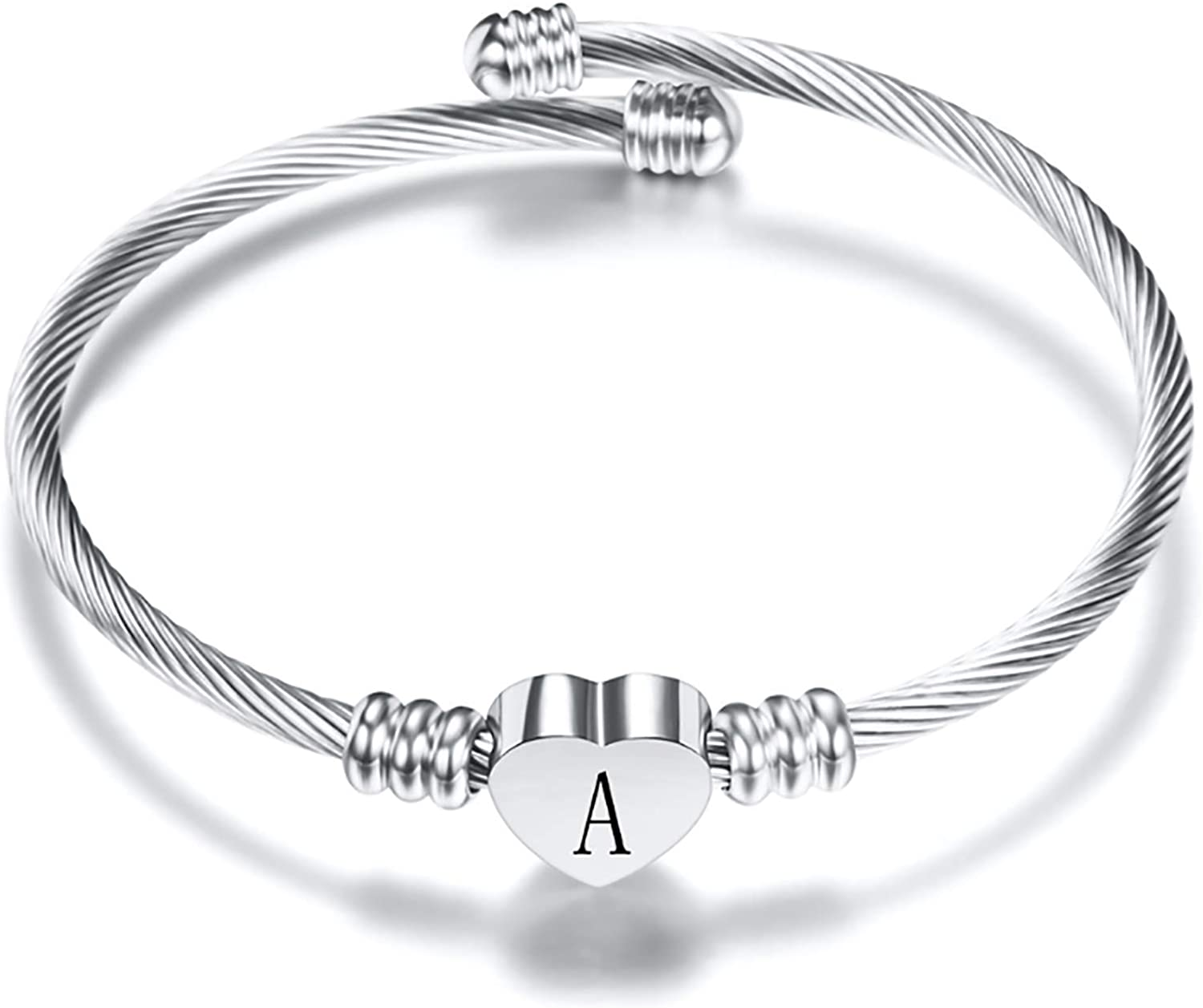 Chili Jewelry Women Girls Initial Heart A-Z Letter Cuff Bracelet Custom Name Expandable Bangle Bracelets Stainless Steel