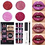 Glitter Lip Kit Liquid Lipstick Set, Glitter Lip Kit Stay Golden, 4 Color Diamond Glitter Metallic Lipstick Waterproof and Long-Lasting Set (Red Set)