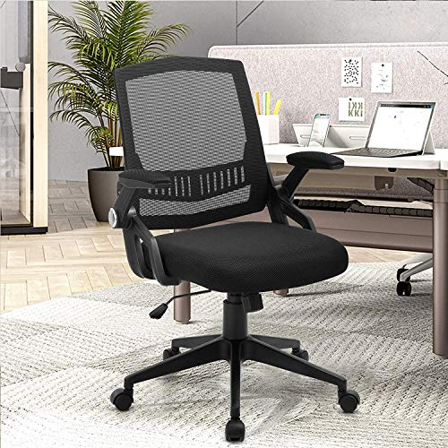 Home Office Chair, Mesh Computer Chair with Lumbar Support and Flip-up Armrests, Mid-Back Desk Chair with High Resilience Thickened Cushion, 300LB Weight Capacity, Black