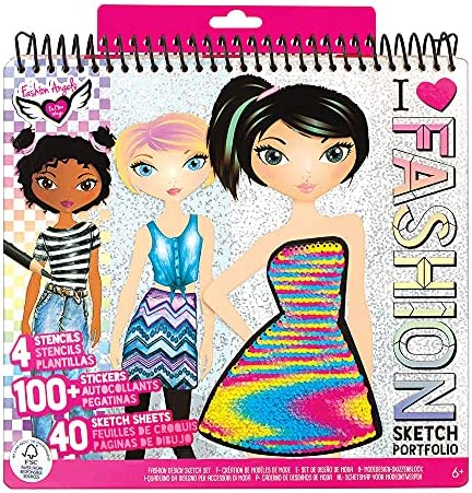 Fashion Angels Fashion Design Sketch Portfolio (11451), Sketch Book for Beginners, Fashion Sketch Pad with Stencils and Stickers For Kids 6 and Up