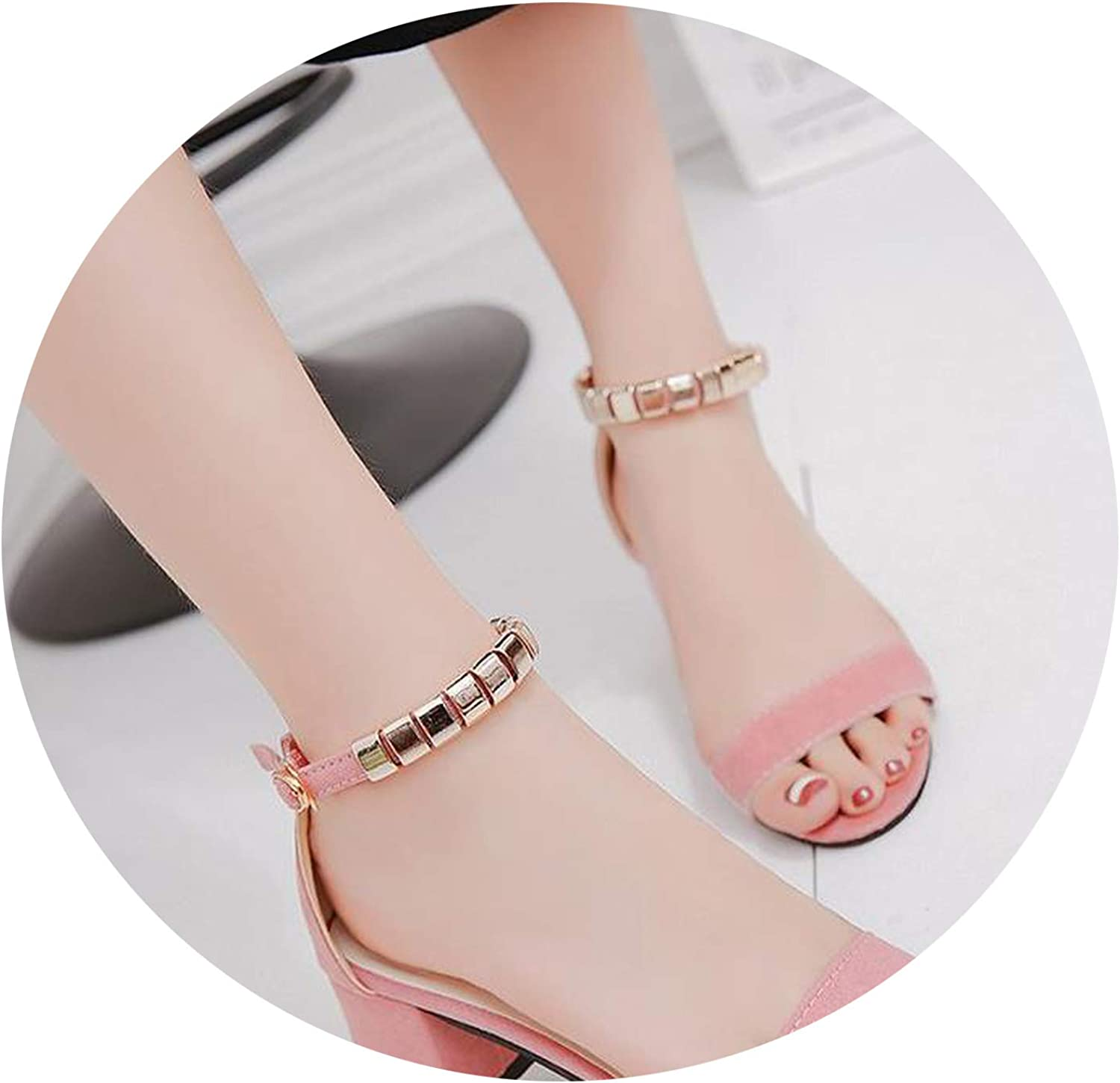 Buckle with high Heels Thick with Women's shoes Open Toe Hollow Ladies Sandals