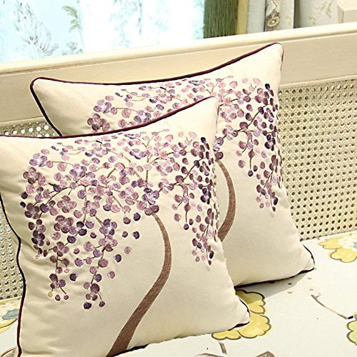 ZUODU 2PCS 45cmx45cm Embroidered Cotton Linen Decorative Throw Pillow Cover Cushion Case Pillow Case - Money Tree (MoneyTree- Purple 2PC)