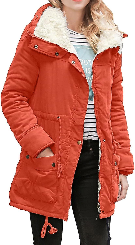 Faux Fur Lining Womens Winter Coats Fleece Lapel Button Down Zipper Parka Thick Jacket Outwear