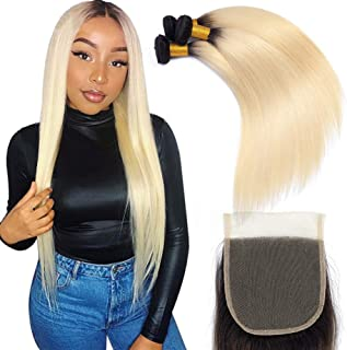 YOLAMI Hair Ombre Blonde 3 Bundles With Closure Dark Roots Two Tone Color 1b/613 Brazilian Straight Remy Human Hair Weave Extensions