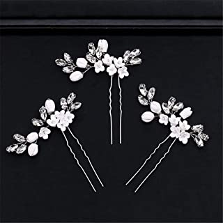 LUKEEXIN Bridal Bun Flower Headwear Wedding Dress Accessories Crystal Hair Accessories Bridal Accessories (Color : White)