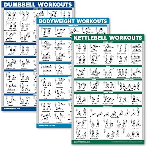 QuickFit 3 Pack Dumbbell Workouts Kettlebell Exercises Bodyweight Routine Poster Set Set of product image