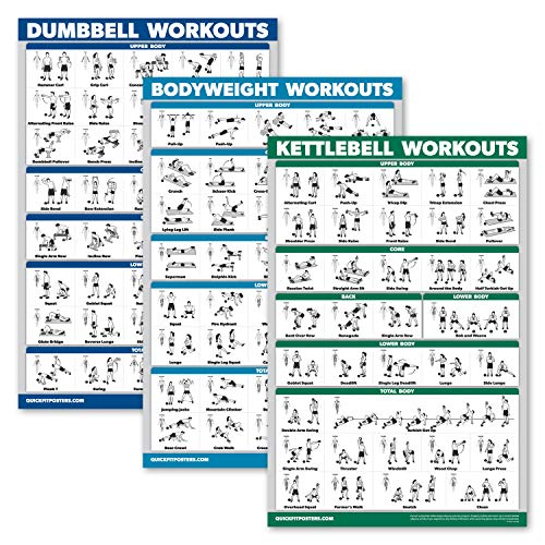 """QuickFit 3 Pack - Dumbbell Workouts + Kettlebell Exercises + Bodyweight Routine Poster Set - Set of 3 Workout Charts (Laminated, 18"""" x 27"""")"""
