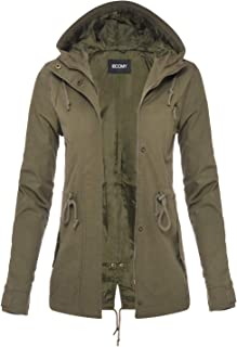FASHION BOOMY Women's Zip Up Safari Military Anorak Jacket with Hood Drawstring - Regular and Plus Sizes