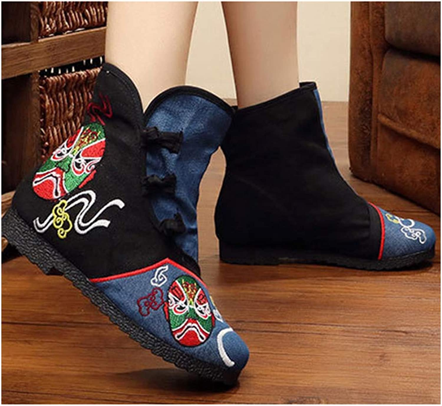 Longxing Vintage Beijing Cloth shoes Embroidered Boots bluee Black