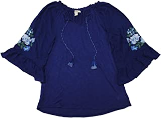 Vintage America Blues Womens Embroidered Floral Bell Sleeve Valerie Blouse